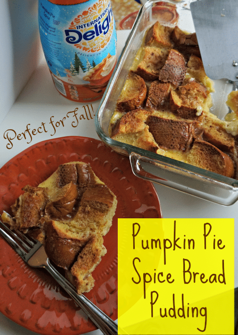 Make a delicious and easy bread pudding starting with  International Delight Pumpkin Pie Spice. #PumpkinSpice #breadpudding