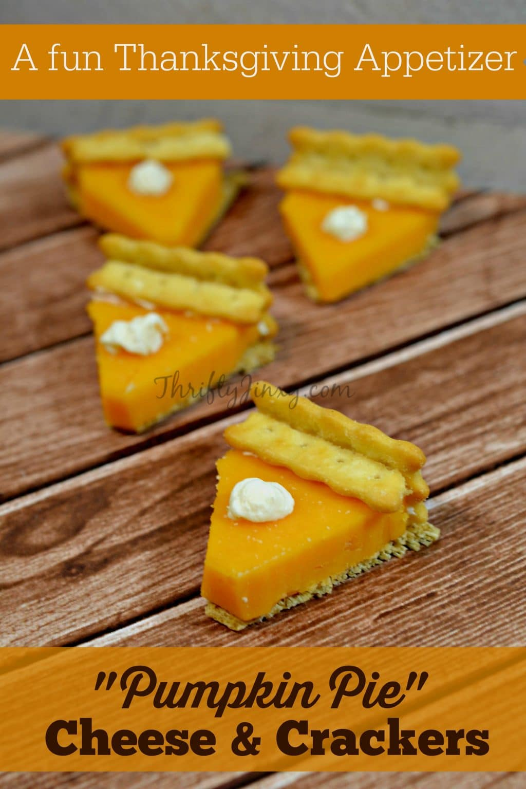 This Pumpkin Pie Cheese Crackers Thanksgiving Appetizer is made with crackers, cheese and cream cheese, but looks just like little pumpkin pie slices!