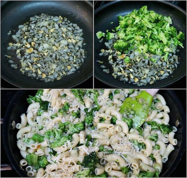 Broccoli Parmesan Macaroni Recipe Process