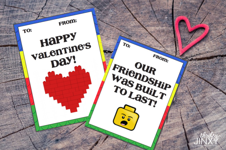 Printable LEGO Valentines on Wood Background with Heart