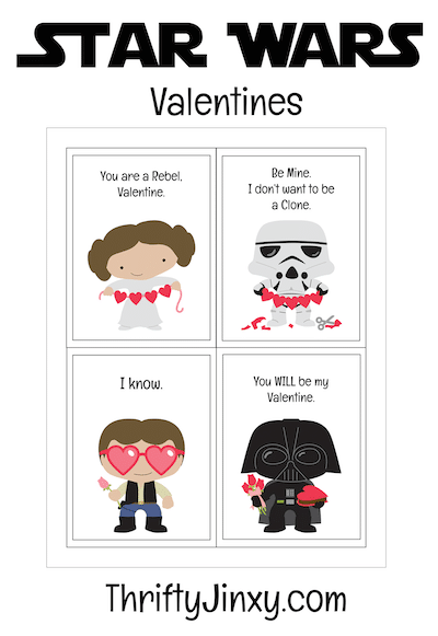 These Free Printable Star Wars Valentines feature Princess Leia, Darth Vader, Han Solo and a Stormtrooper. Perfect for classroom Valentine's Day parties!