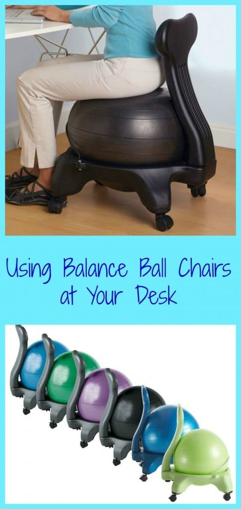 Using balance ball chairs at your desk can help alleviate back pain,  strengthen core muscles and provide other health benefits.