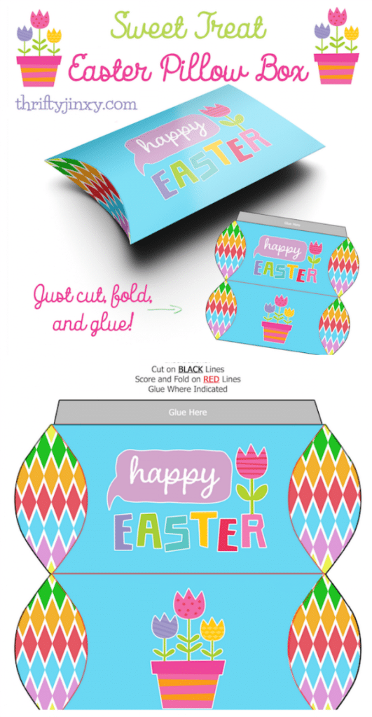 Easter Pillow Box Printable Paper Craft