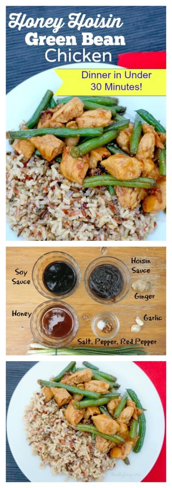 This easy stir fry recipe gets great flavor from both honey and hoisin sauce with a fresh burst from the green beans. #stirfry #hoisin #greenbeans #chicken