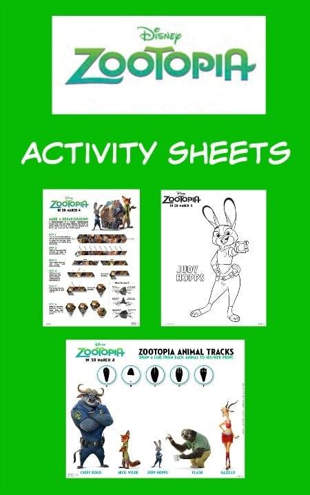 Zootopia Printable Activity Sheets