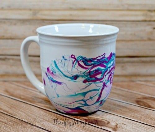 DIY Nail Polish Marbled Mugs Craft