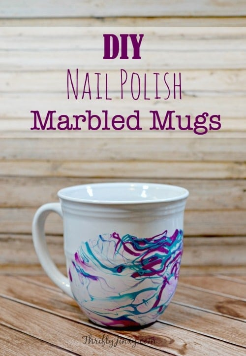 This DIY Nail Polish Marbled Mugs Craft is fun and easy to make to decorate your own kitchen or make as a Mother's Day or Easter gift!