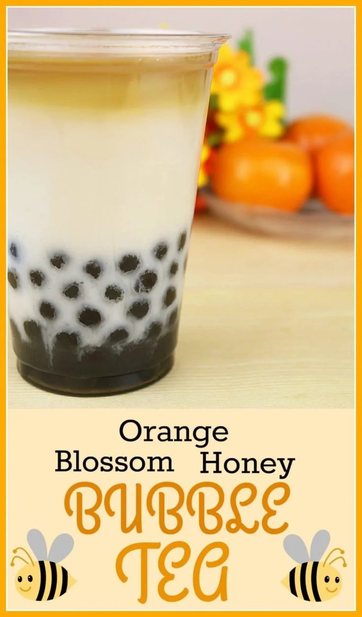 Boba fans will love this Orange Blossom Honey Bubble Tea Recipe to make their own tea at home - complete with tapioca pearls! #BubbleTea