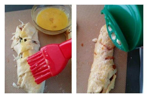 Baked Turkey Meatball Braided Sandwich cutting braids wash and parm