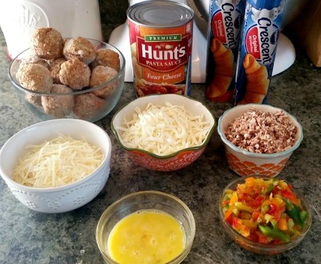 Baked Turkey Meatball Braided Sandwich ingredients