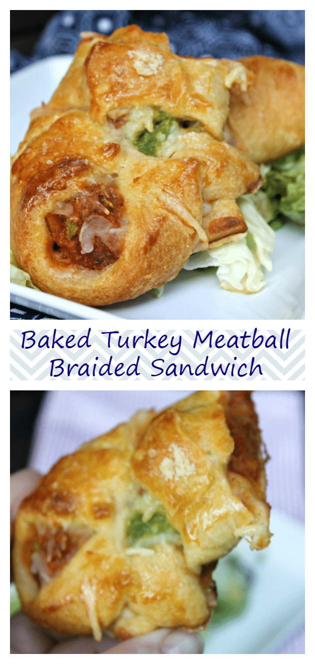 Baked Turkey Meatball Braided Sandwich