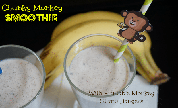 Chunky Monkey Smoothie Recipe + Printable Monkey Straw Hanger