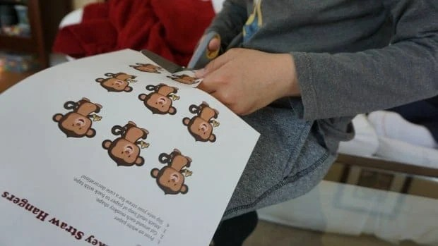 Cutting Printable Monkey Straw Hangers