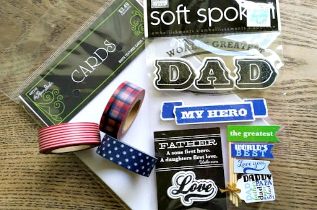 Homemade Washi Tape Father's Day Card supplies