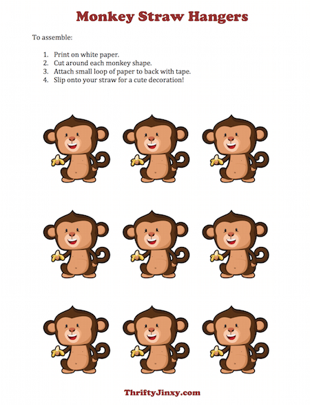 Printable Monkey Straw Hangers