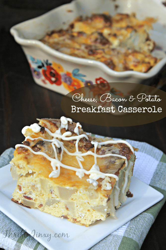 This Cheese, Bacon and Potato Breakfast Casserole Recipe is an easy way to feed your family or a whole crowd for breakfast or brunch.