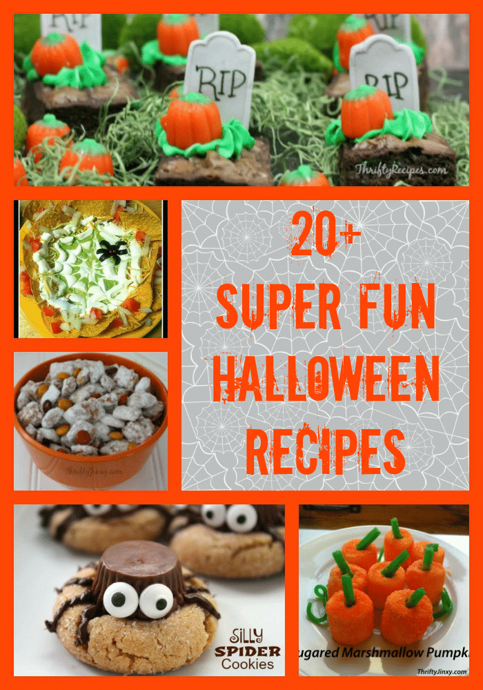 Find both sweet and savory treats in this collection of 20+ Super Fun Halloween Recipes including decadent treats AND healthy options!