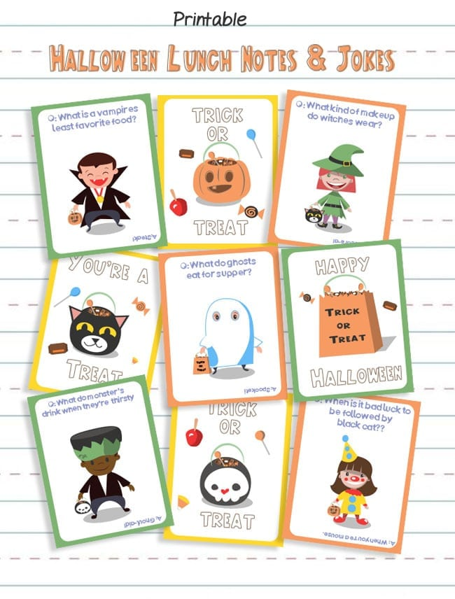 photo about Printable Holloween called Printable Halloween Lunchbox Notes and Lunch Strategies - Thrifty