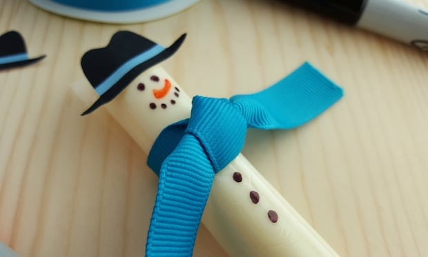 Easy Cheese Stick Snowman