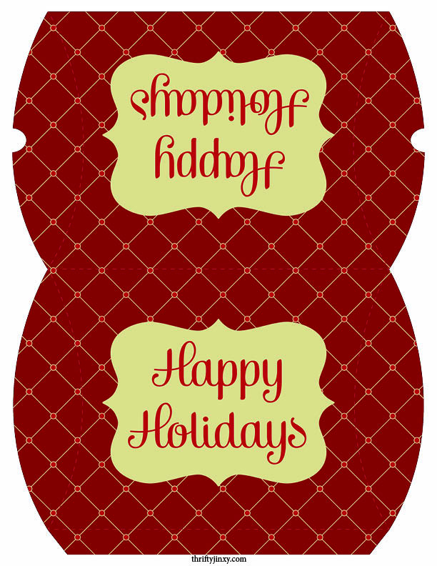 Happy Holidays Pillow Box Printable