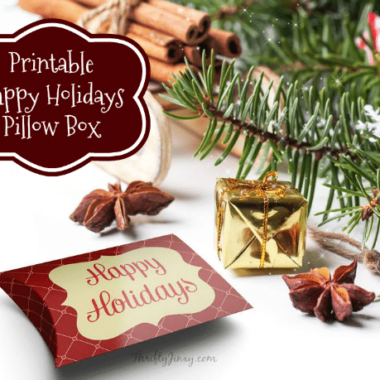 Printable Happy Holidays Pillow Box