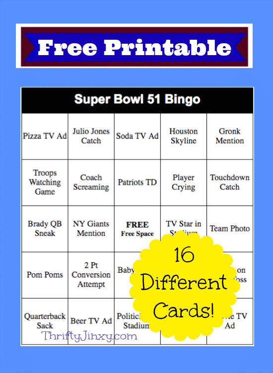 image about Printable Super Bowl Bingo Cards identified as Tremendous Bowl Bingo Playing cards No cost Printable! - Thrifty Jinxy