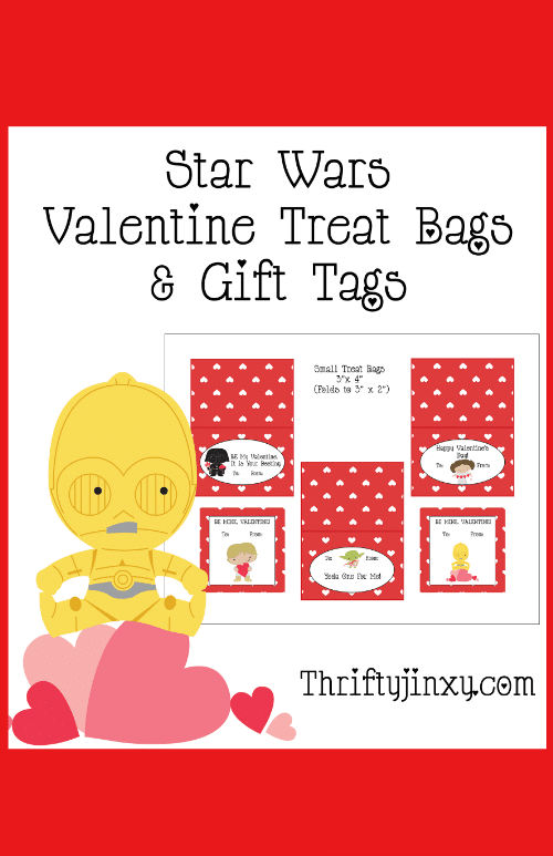 Have Star Wars-themed Valentine fun with these Printable Star Wars Valentine Treat Bags and Gift Tags! Treat bag toppers feature your favorite characters!