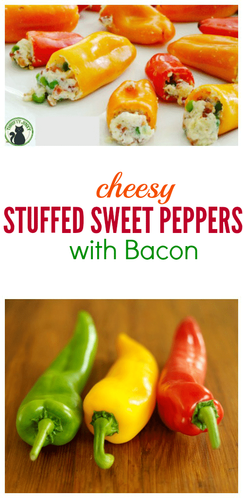This Cheesy Stuffed Sweet Peppers with Bacon Recipe makes cute little guys perfect for a party appetizer, lunch, game day foodor side to a big Italian meal!