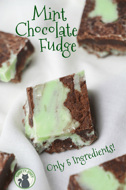 This Easy 5 Ingredient Mint Chocolate Fudge Recipe mixes up in only a few minutes for a delicious treat for St. Patrick's Day or any occasion!