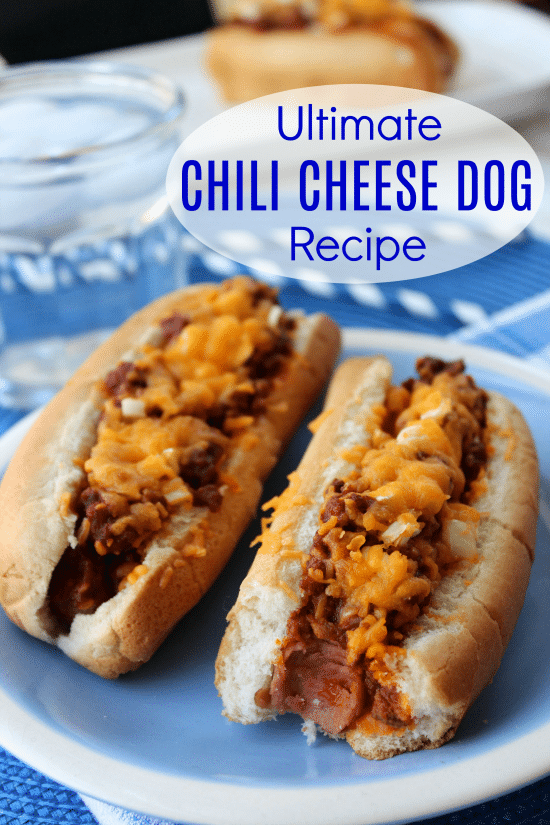 This Ultimate Chili Cheese Dog Recipe starts with homemade chili that is quick and easy to make, but OH SO delicious!