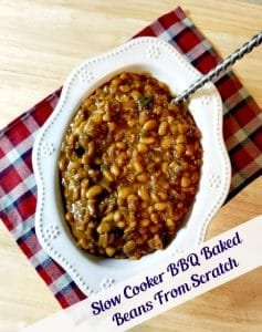 My Slow Cooker BBQ Baked Beans From Scratch have a secret ingredient. They will make your BBQ ROCK!