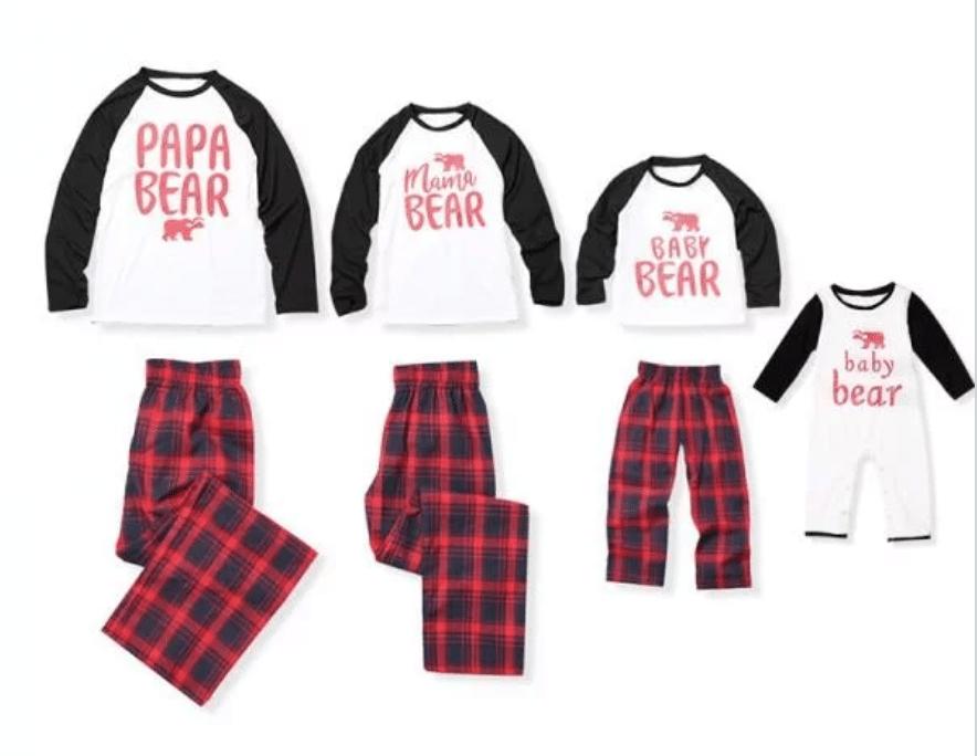 Bear Print Family Matching Contrast T-shirt and Plaid Pants Set