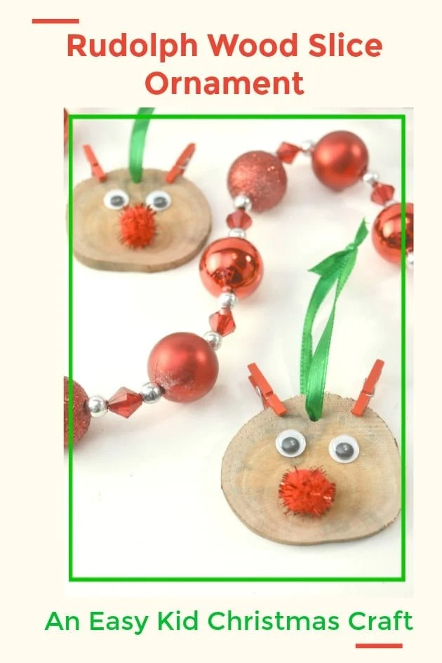 This fun-to-make Rudolph Wood Slice Ornament is an easy kid's Christmas craft!