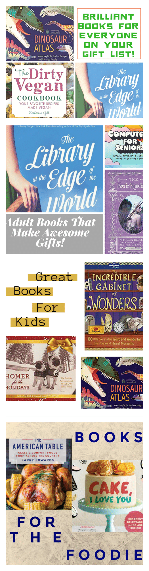 Awesome Book Ideas For The Reader On Your Gift List with suggestions for adults, kids, foodies, romantics and more!
