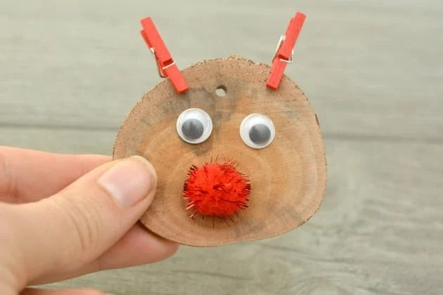 Rudolph Wood Slice Ornament Is An Easy Kid Christmas Craft step four