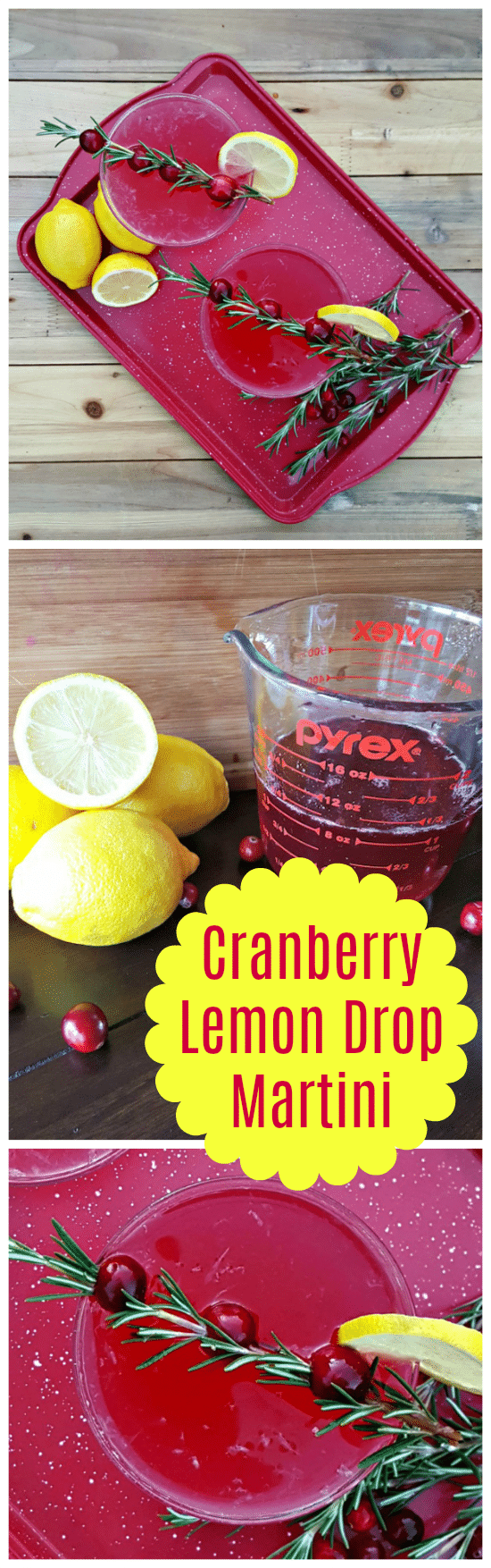 This Cranberry Lemon Drop Martini uses a homemade cranberry simple syrup that is actually simple to make using only fresh cranberries, sugar and water. Combine it with fresh lemon juice and vodka for a delicious drink. #cocktails #martini #mixeddrinks #beverages