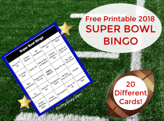 picture relating to Printable Super Bowl Bingo Cards referred to as Printable Tremendous Bowl Bingo Playing cards for 2019 - Thrifty Jinxy