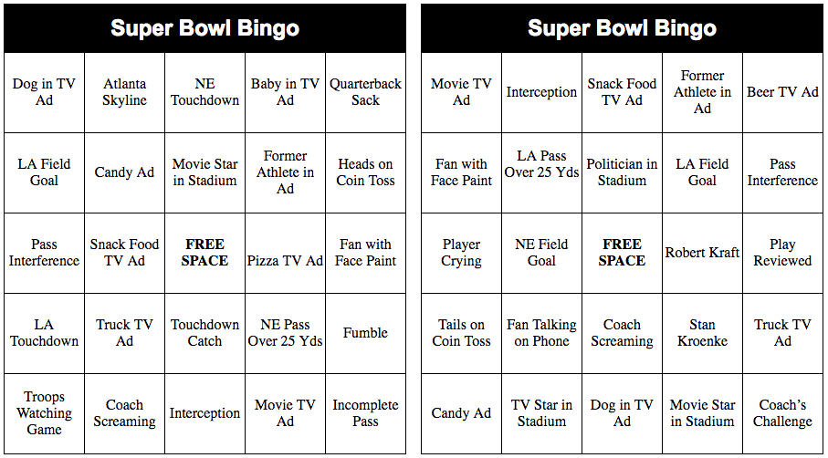 graphic about Superbowl Boards Printable identified as Printable Tremendous Bowl Bingo Playing cards for 2019 - Thrifty Jinxy