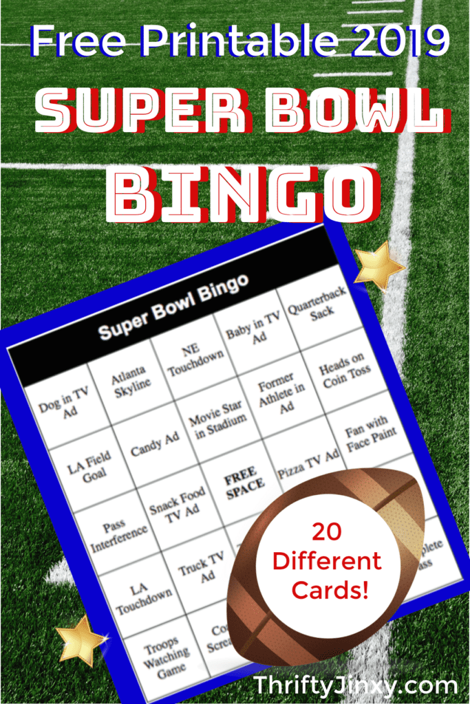 picture regarding Printable Super Bowl Bingo Cards named Printable Tremendous Bowl Bingo Playing cards for 2019 - Thrifty Jinxy