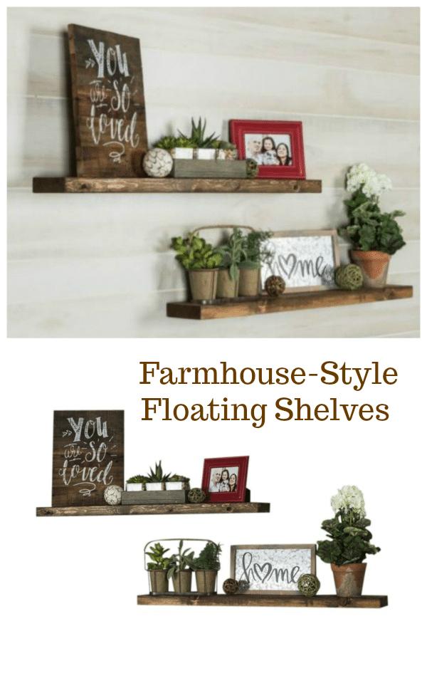 Farmhouse-Style Wood Floating Shelves