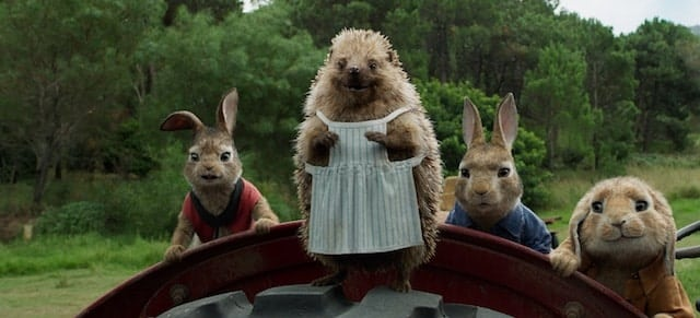 Flopsy (Margot Robbie), Mrs.Tiggy-Winkle (Sia), Peter Rabbit (James Corden) and Benjamin (Matt Lucas) in Columbia Pictures' PETER RABBIT.