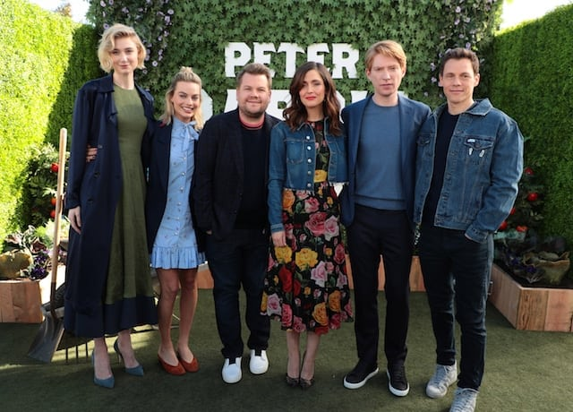 Elizabeth Debicki, Margot Robbie, James Corden, Rose Byrne, Domhnall Gleeson and Director Will Gluck at Peter Rabbit Press Conference