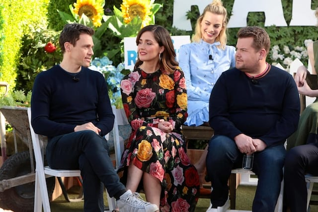 Will Gluck, Rose Byrne and James Corden at Junket Press Conference for PETER RABBIT at The London Hotel West Hollywood