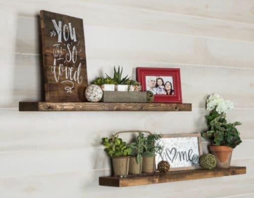 Farmhouse-Style Floating Shelves