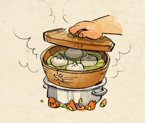 Steamed Bao Bun drawing in steamer over pot of boiling water