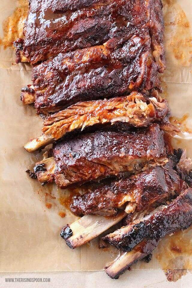 bbq pork ribs on butcher paper