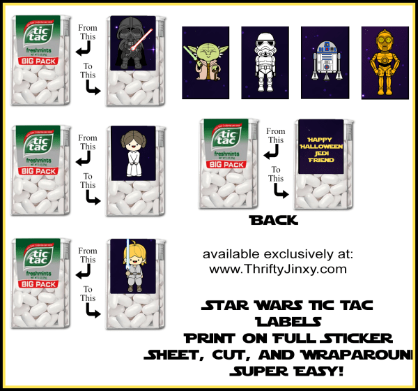 picture relating to Printable Star Wars Images titled Free of charge Printable Star Wars Halloween Tic Tac Labels - Thrifty