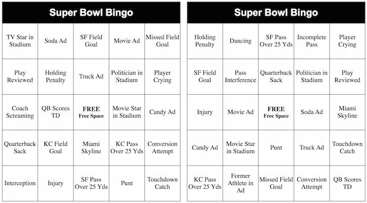 2020 Super Bowl Bingo Card Samples
