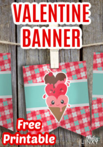 Printable Valentines Day Banner with Ice Cream Cones