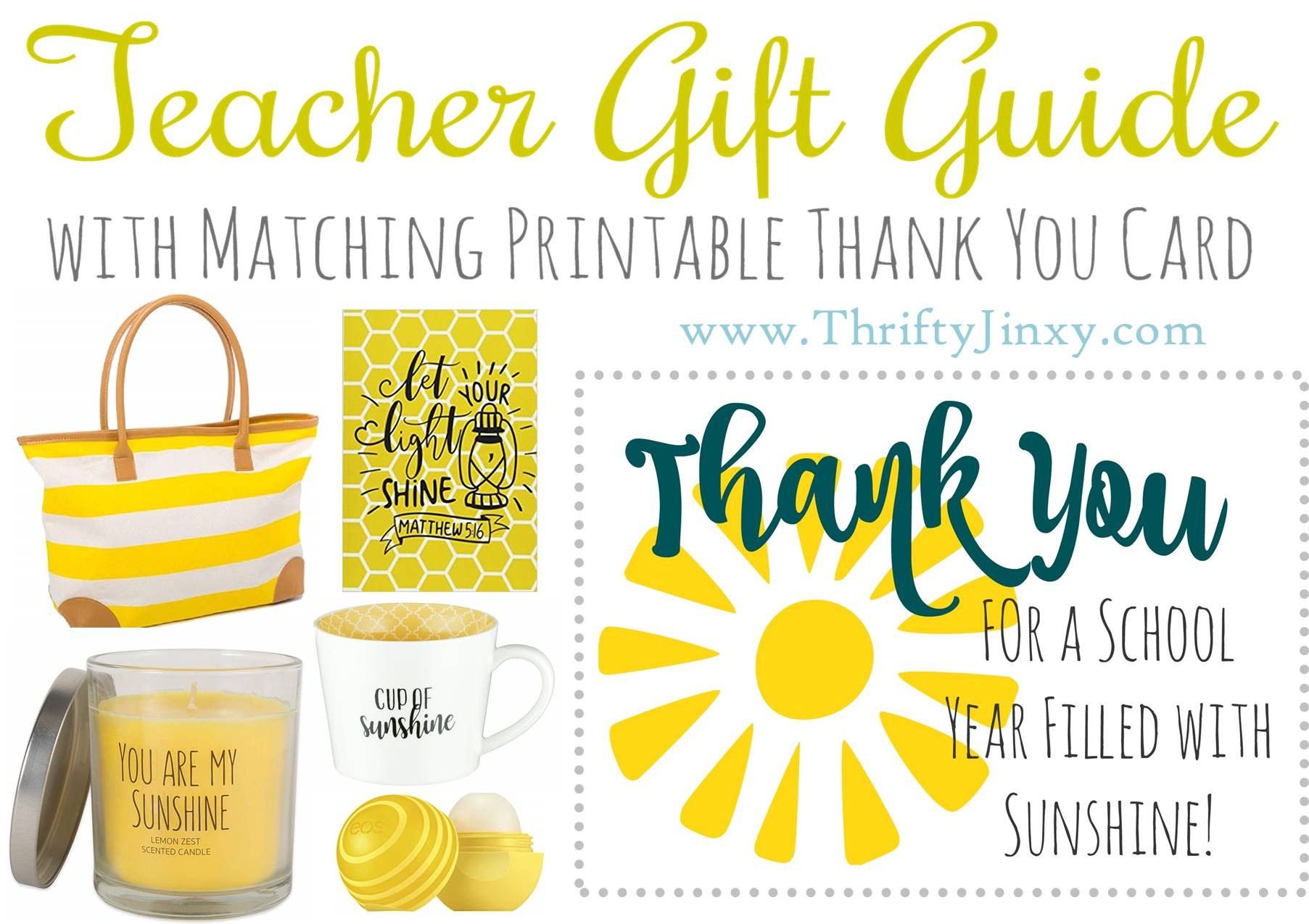 Teacher Gift Guide and Free Printable Thank You Note